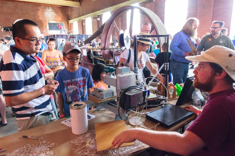 Exhibitors at Hamilton's first Maker Faire, held at Hamilton Steam and Technology Museum