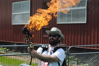 Fire horn at the 2015 Hamilton Mini Maker Faire